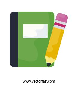 textbook school with pencil isolated icon