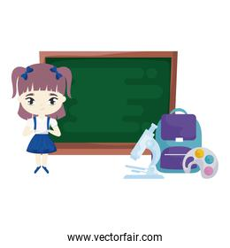 cute student girl with board and supplies school