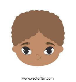 head of cute smiling  boy afro avatar character