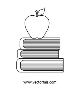 pile of library books with apple fruit