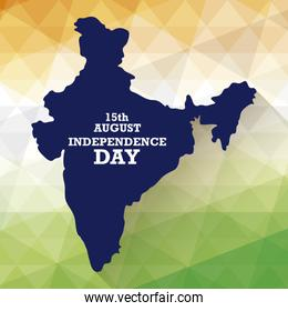 independence day indian label with map