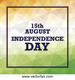 independence day indian label with frame square