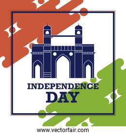independence day indian label with gate structure