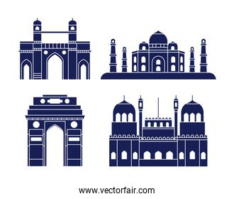 set of structures emblematic of indian