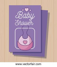 baby shower card with bib for girl