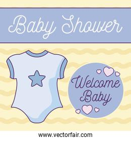 baby shower card with clothes kid