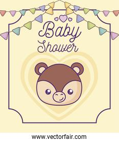 baby shower card with head of cute monkey