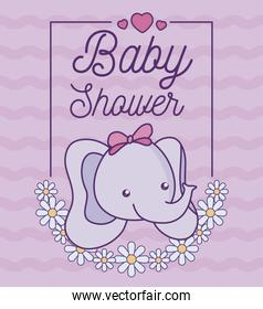 baby shower card with head of cute elephant