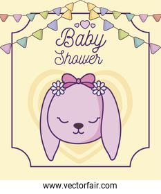 baby shower card with head of cute rabbit