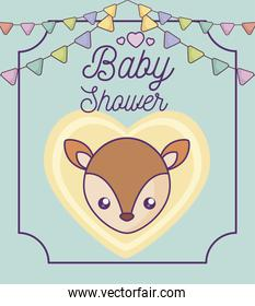 baby shower card with cute fox