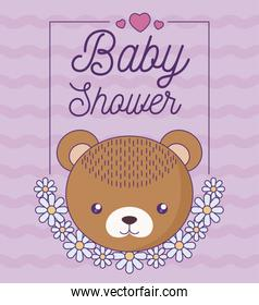 baby shower card with head of cute bear