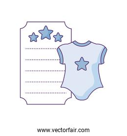 clothes baby in card with stars decoration