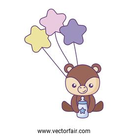cute little bear baby with balloons helium