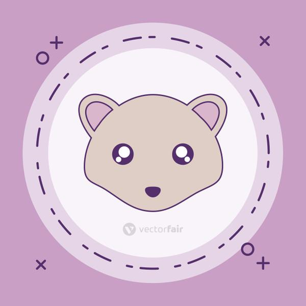 head of cute little mouse baby in frame circular