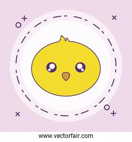 head of cute little chicken baby in frame circular