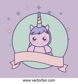 cute little unicorn baby with ribbon