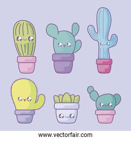 set of cactus tropical in pot plant kawaii style