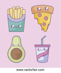 french fries with pizza and set icons kawaii style