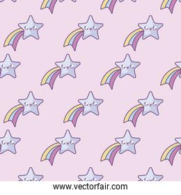 pattern of cute shooting stars kawaii style