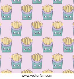 pattern of fresh french fries kawaii style