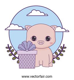 cute piggy with gift box and crown leafs