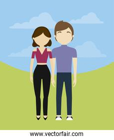 young couple in landscape avatar character