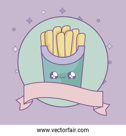 fresh french fries with ribbon decoration kawaii style