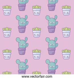 pattern of cactus tropicals with pot plants kawaii style
