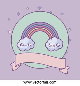 cute rainbow with clouds and ribbon decoration kawaii style