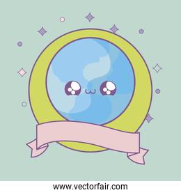 world planet in frame circular with ribbon kawaii style