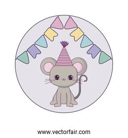 cute mouse animal with hat party and garlands hanging