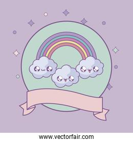 rainbow and clouds in frame circular with ribbon kawaii style