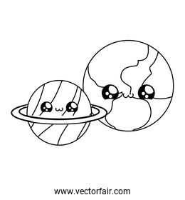 world with planet saturn kawaii style