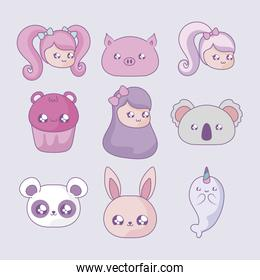 set of cupcake with girls and cute animals kawaii style