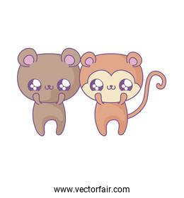cute bear with monkey baby animals kawaii style
