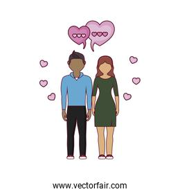 young couple lovers with speech bubbles and hearts