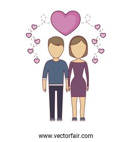young couple lovers with hearts decoration