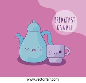 kettle with cup for breakfast kawaii style