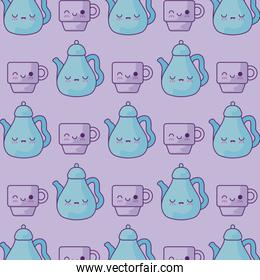 pattern of teapots with cups kawaii style