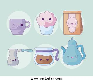set cute teapot with icons kawaii style