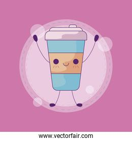 container beverage coffee kawaii style
