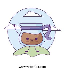 teapot with coffee drink in landscape kawaii style