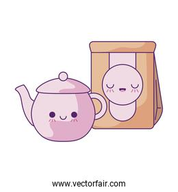 cute teapot with bag paper kawaii style
