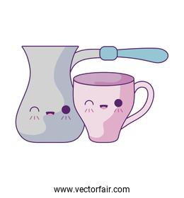 cute teapot with cup kawaii style