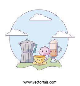 teapot with set of food in landscape kawaii style