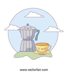 cute teapot with cup in landscape kawaii style