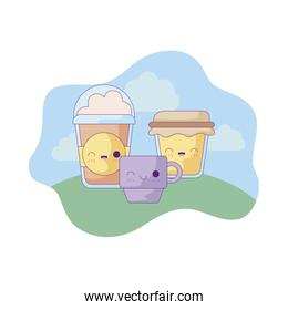 cup with set food in landscape kawaii style