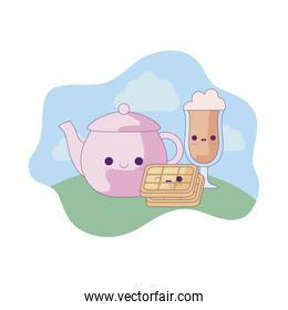cute teapot with set food in landscape kawaii style