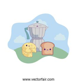 teapot with cheese and bread in landscape kawaii style
