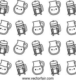 pattern of teapots with bottles kawaii style